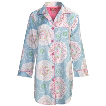 Frankie & Johnny Cotton Voile Sleepshirt - Long Sleeve (For Women) in Spring Blooms Pastel