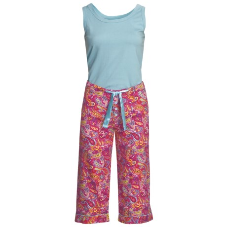 Frankie & Johnny Paisley Tank Top and Capris Pajamas (For Women) in Red/Blue