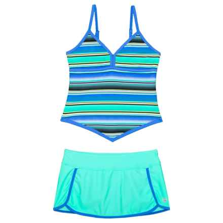 Free Country Adjustable Strap Apron Tankini and Skirt with Brief - 2-Piece Set (For Big Girls) in Seafoam - Closeouts