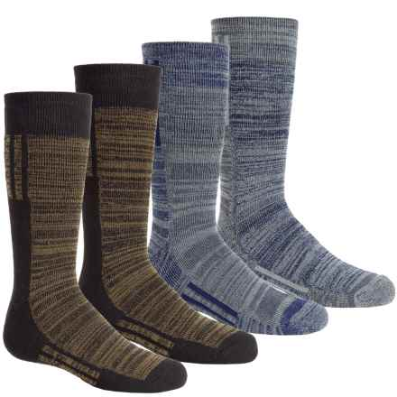 Free Country Boot Socks - 4-Pack, Crew (For Boys) in Colorblock Grey/Olive - Closeouts