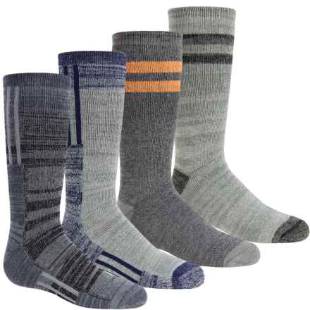 Free Country Boot Socks - 4-Pack, Crew (For Boys) in Colorblock/Stripe Grey/Navy - Closeouts
