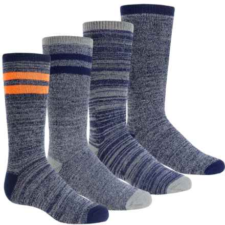 Free Country Boot Socks - 4-Pack, Crew (For Boys) in Marled Navy - Closeouts
