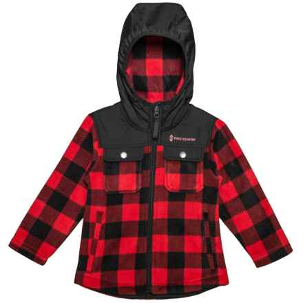 Free Country Buffalo Plaid Fleece Shirt Jacket (For Toddler Boys) in Crimson Red - Closeouts