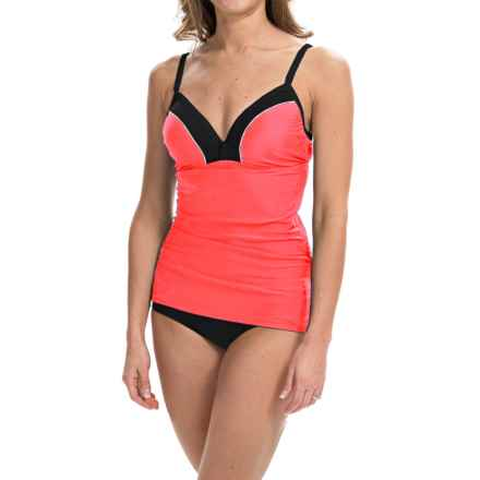 Free Country Color-Block Tankini Top (For Women) in Hot Coral/Steel/White - Closeouts