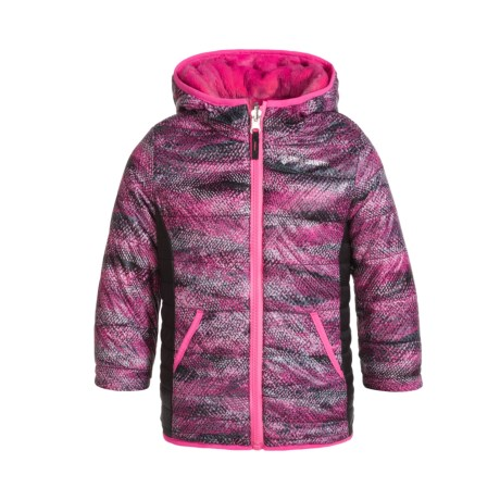 Free Country Color-Blocked Printed Puffer Reversible Jacket - Insulated (Little Girls) in Pink Swizzle