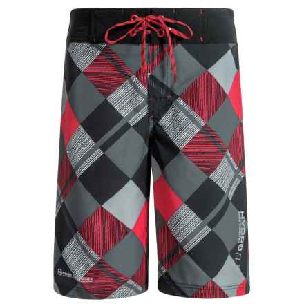 Free Country Diagonal Plaid Boardshorts (For Big Boys) in Red/Black - Closeouts