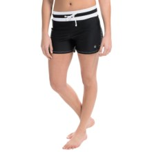 Free Country Drawstring Swim Shorts - Built-In Swim Brief (For Women) in Black/White - Closeouts