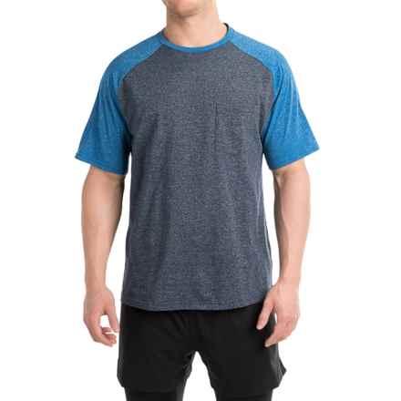 Free Country Raglan Pocket T-Shirt - Short Sleeves (For Men) in Dark Navy Heather/Web Royal Heather Raglan - Closeouts