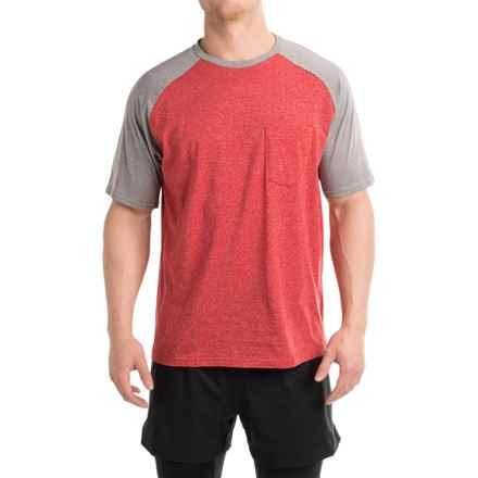 Free Country Raglan Pocket T-Shirt - Short Sleeves (For Men) in Tango Red Heather/True Gray Heather Raglan - Closeouts