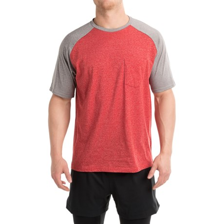 Free Country Raglan Pocket T-Shirt - Short Sleeves (For Men) in Tango Red Heather/True Gray Heather Raglan