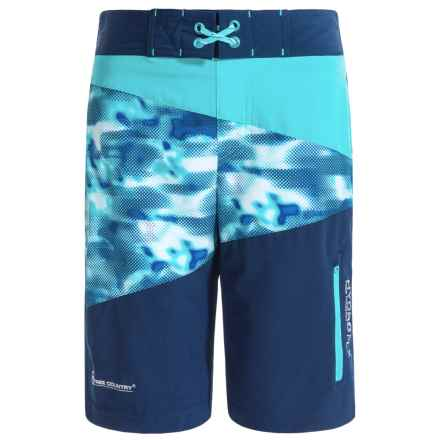 Free Country Rapid Camo Boardshorts (For Big Boys) in Electric Blue/Navy - Closeouts