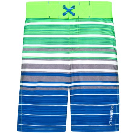 3924f9e612e05 Free Country Splash Stripe Boardshorts (For Big Boys) in Green Gecko -  Closeouts