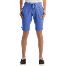 Free Country Woven Stretch Bermuda Shorts (For Women) in Peri Mist - Closeouts