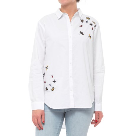 Free Heart Button-Down Embroidered Shirt - Long Sleeve (For Women) in Optic White
