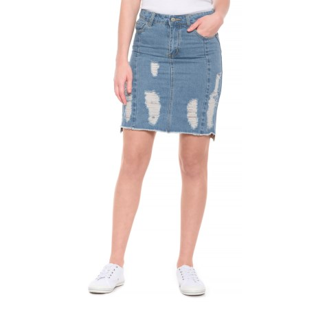 Free Heart Five-Pocket Distressed Denim Skirt (For Women) in Medium Destroyed