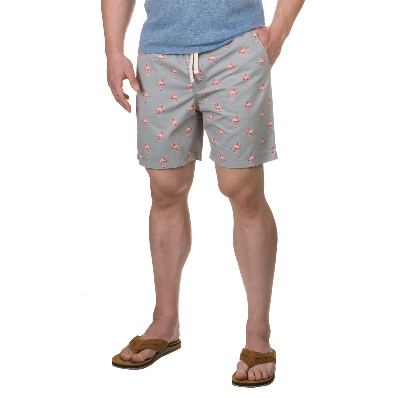 Free Nature Flamingo Print Twill Shorts (For Men) - Save 86%