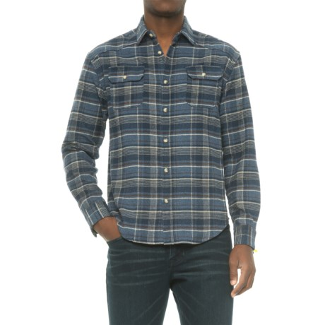 Free Nature Plaid Twill Flannel Shirt - Long Sleeve (For Men) in Navy/Grey/Natural