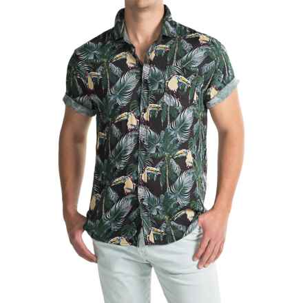 Free Nature Printed Rayon Shirt - Short Sleeve (For Men) in Black/Dark Tropical - Closeouts