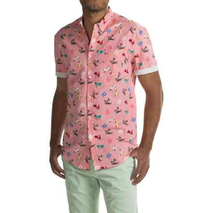 Free Nature Scooter Print Poplin Shirt - Short Sleeve (For Men) in Quartz Pink/Scooter - Closeouts