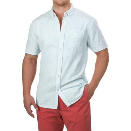 Free Nature Seersucker Shirt - Short Sleeve (For Men) in Ballad Blue/White
