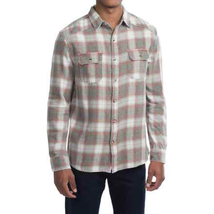 Free Nature Weathered Twill Flannel Shirt - Long Sleeve (For Men) in Grey/Red/Off White - Closeouts