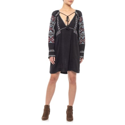 Free People Black All My Life Embroidered Mini-Dress - Long Sleeve (For  Women 0dca7f0b8