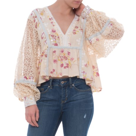 Free People Boogie All Night Printed Blouse - Long Sleeve (For Women) in Ivory
