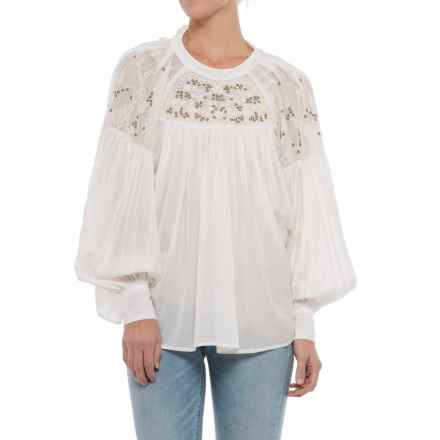 Free People Have It My Way Embroidered Shirt - Long Sleeve (For Women) in Ivory - Closeouts