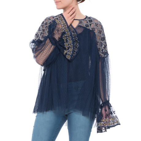 Free People Joyride Blouse - Semi-Sheer, Long Sleeve (For Women) in Navy