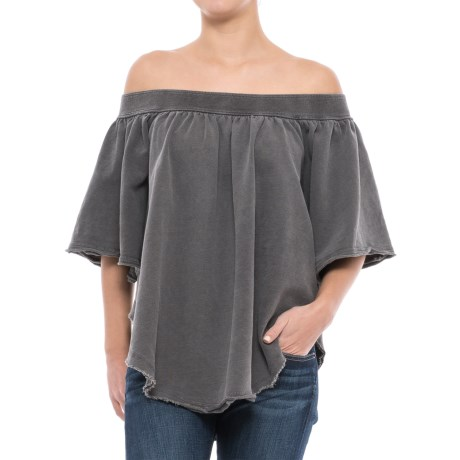 Free People Kiss Me Off-the-Shoulder Shirt - Short Sleeve (For Women) in Black