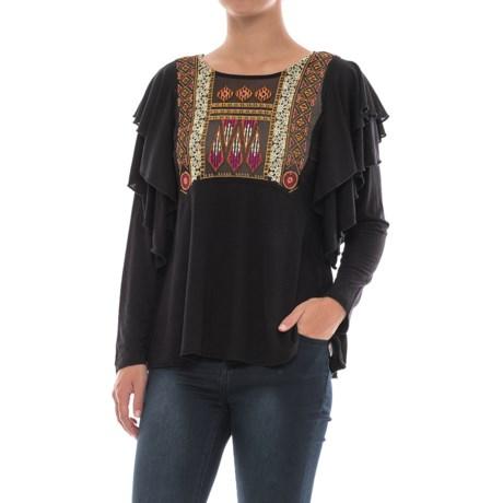 Free People La Cienga Ruffled Shirt - Long Sleeve (For Women) in Black