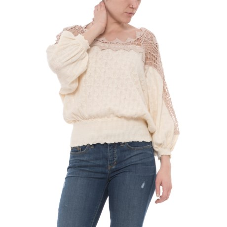 Free People Love Lace Shirt - Boat Neck, Long Sleeve (For Women) in Ivory Combo