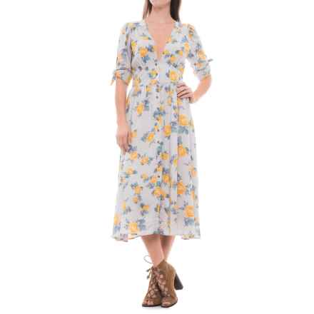 Free People Love of My Life Printed Midi Dress - Short Sleeve (For Women) in Neutral Combo - Closeouts