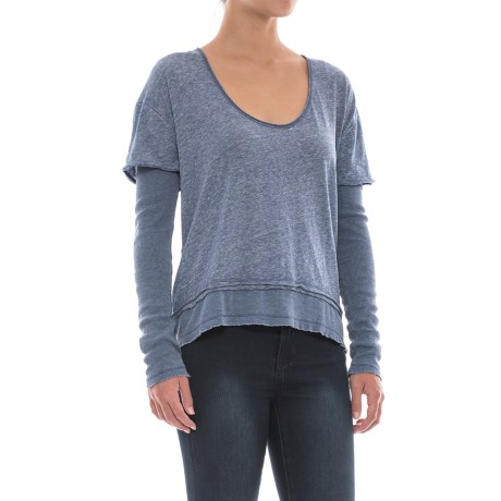 Free People Magic T-Shirt - Scoop Neck, Long Sleeve (For Women) in Blue