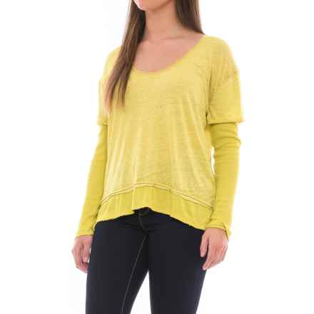 Free People Magic T-Shirt - Scoop Neck, Long Sleeve (For Women) in Lime - Closeouts