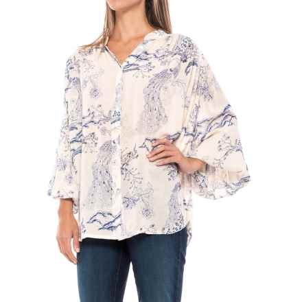 Free People Metallic Blooms Tunic Shirt - Long Sleeve (For Women) in Ivory - Closeouts