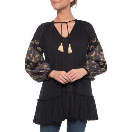 f4244fa9db7cd Free People Mix It Up Tunic Shirt - Long Sleeve (For Women) in Black