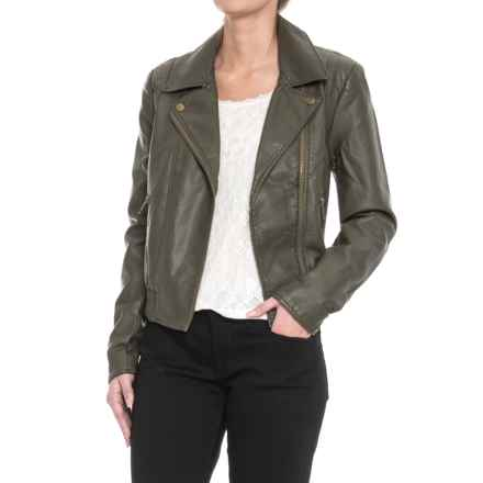 Free People Modern Bomber Jacket - Vegan Leather (For Women) in Moss - Closeouts
