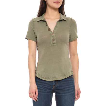 63a0915a Free People Moss Poppy Polo Shirt - Short Sleeve (For Women) in Moss
