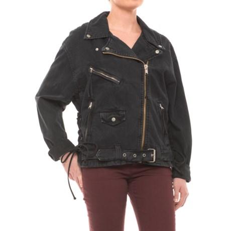 Free People Oversized Denim Moto Jacket (For Women) in Black