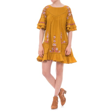 Free People Pavlo Dress - Short Sleeve (For Women) in Gold