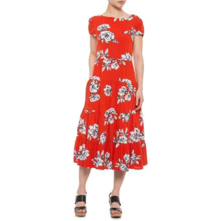 d4dfea3429 Free People Red Rita Tiered Midi Dress - Short Sleeve (For Women) in Red
