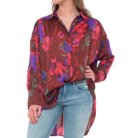 Free People Silky Nights Tunic Shirt - Long Sleeve (For Women) in Cranberry