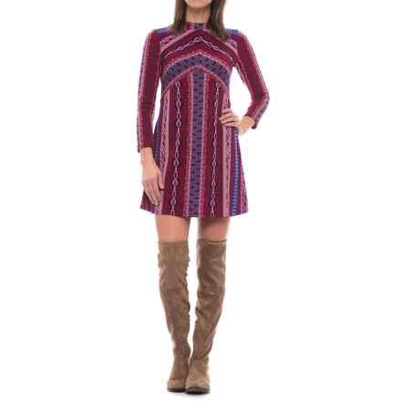 Free People Stella Knit Mini Dress - 3/4 Sleeve (For Women) in Purple - Closeouts