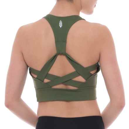 Free People Synergy Crop Sports Bra - Medium Impact, Racerback (For Women) in Green - Closeouts