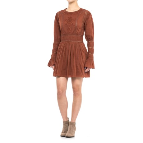 Free People Victorian Waisted Mini Dress - Long Sleeve (For Women) in Bronze