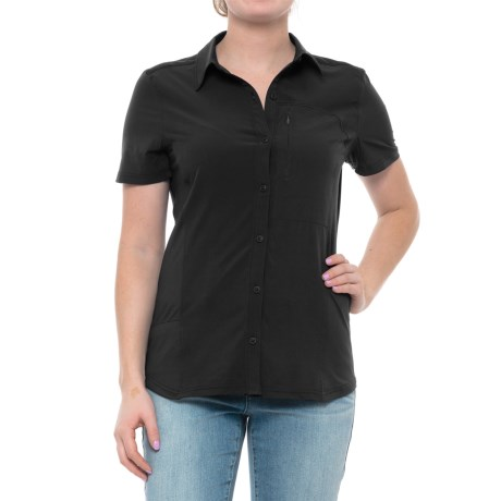 Freedom Trail Button-Front Knit Back Shirt - Short Sleeve (For Women) in Black