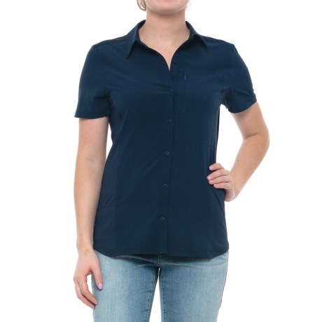 Freedom Trail Button-Front Knit Back Shirt - Short Sleeve (For Women) in Navy