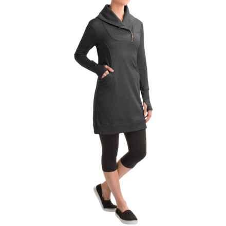 Freedom Trail by Kyodan Shawl Collar Dress - Long Sleeve (For Women) in Black Melange - Closeouts