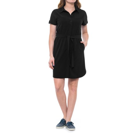 Freedom Trail Collared Belted Dress - Short Sleeve (For Women) in Black